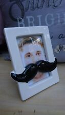 Fabulous Novelty White Ceramic Picture Frame with Large Black Moustache BNWT