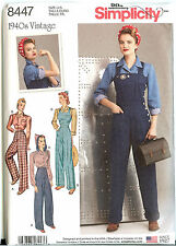 Simplicity 8447 Vintage Retro 40s Rosie the Riveter Overalls Pattern Misses New
