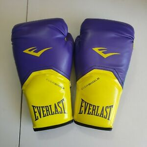 Everlast Evershield Size Medium 12oz Boxing Training Gloves purple/Yellow Use A6