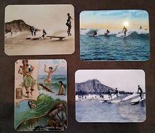 RETRO HAWAIIAN SURFING Sticker X 4 Surfboard 1950's LONGBOARD SURFER MAL D FIN