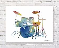Drum Set Abstract Watercolor Painting Art Print by Artist DJ Rogers