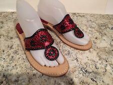 Jack Rogers Navajo Sandals Flat Leather Flip Flop Leopard Red Black 6-6.5 M New