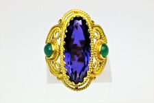 18K Yellow Gold Amethyst & Emerald Accent Cocktail Ring