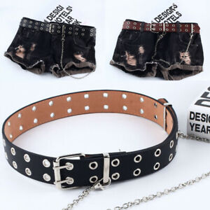 Women Punk Chain Belt Adjustable Black Double/Single Eyelet Leather BuckleEBBEO