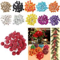 40x Mini Christmas Frosted Berry Fruit Artificial Craft Flower Home Tree Decor#