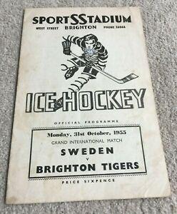 1955 Ice Hockey Programme Sweden v Brighton Tigers, Sports Stadium Brighton
