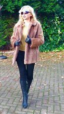 Impresionante Sable visón color piel verdadera Abrigo Chaqueta Vintage Estilo Clásico