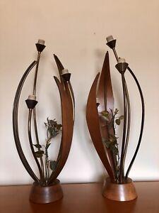 Vintage MID CENTURY Eames MODELINE Lamp Pair Bent Wood EAMES VTG 50s Mcm Pearsal