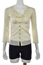 Claudie Pierlot Womens Top Size 1 Ivory Blouse 3/4 Sleeve Polka Dot  Shirt