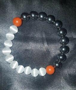 Yin Yang Chakra 8mm beads stretchy bracelet Hematite, Jasper, Selenite, Yoga Zen