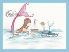 Sailing Mermaid & Son Original Painting  Camille Grimshaw Sea Fairy sailboat mom