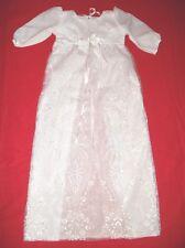 Taufkleid lang  Stickerei + Mütze+Schuhe 3 teilig weiß unisex Größe 68-74 -86