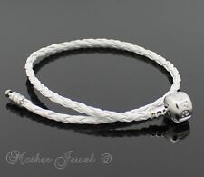 WHITE LEATHER SILVER PLATED CHARM BEAD EUROPEAN LOVE CLIP UNISEX MENS BRACELET