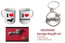 I Love Dacshunds Dogs China Mug Dachsie Owners Key Ring & Pin Badge Gift Set