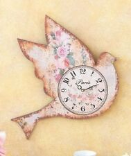 Vintage Chic Wall Clock Bird Flower Antique Look Bird Shaped Wall Decor