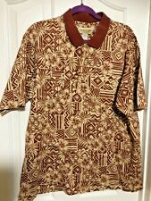 Cooke Street XL Polo 3 pullover Hawaiian Shirt cream wine floral geometric 50x27