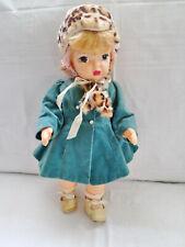 "Terri Lee 1950s 16"" Doll Original Dress& Velvet Coat w/Leopard Fur Trim & Hat"