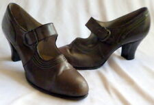 Vintage 1920s Black Leather Shoes Heels Size 6 1/2