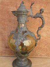 Aiguière Renaissance, étain et cristal de Bohème soufflé ,Epoque Napoléon III