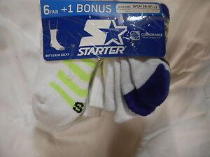 Boys Starter Crew Socks 6 Pair Size Small 6- 9 1/2 White Stripes Cushion Sole