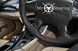 FOR TOYOTA COROLLA E11 PERFORATED LEATHER STEERING WHEEL COVER RED DOUBLE STITCH