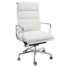 Eames Office Chair Soft Padded High Back Reproduction Aluminium Leather White