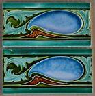 ENGLAND   ANTIQUE ART NOUVEAU MAJOLICA 2 BORDER TILES C1900