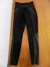 Athleta Women's Pull-on Fitness Sport Yoga Pants XS Zippers Black Faux leather