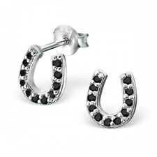 Black Crystal Horse Shoe Sterling Silver Stud Earrings 7mm
