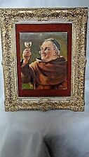 ANTIQUE 19c GERMAN ORIGINAL OIL ON CANVAS PAINTING A MONK W/GLASS OF WINE,SIGNED