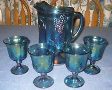 Carnival Glass Pitcher 4 Goblets Iridessent Blue Grapes Indiana Harvest