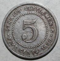 British Straits Settlements 5 Cents Coin 1920 KM# 34 King George V Five Malaysia
