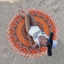 Indian Star Orange Mandala Round Tapestry Beach Yoga Mat Boho Table Cloths