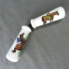 2 Vintage French Porcelain Door Lever Handles Horseman Decor Porcelain of Paris