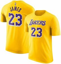 LEBRON JAMES LAKERS COTTON NAME & NUMBER T-SHIRT YOUTH SMALL 8 YELLOW