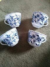 4 Blue Danube Pattern Blue Onion Open handle teacups Mint