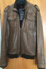 ASOS River Island Men Brown Leather Ribbed Bomber Jacket Size Small