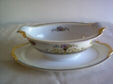 Noritake Hand-painted Gravy Boat with Attached Underplate, Japan  - MINT