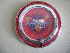 Harley Davidson wall clock, 13 inch, orange & white neon rings, rare graphic