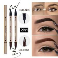 Waterproof Double Head Liquid Eyeliner Pen Eye Brow Pencil Black Makeup Tools