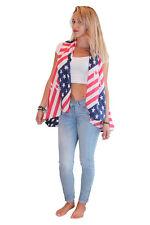 American Flag USA Red White Blue Sleeveless Scarf Poncho. One Size Reg/Plus.