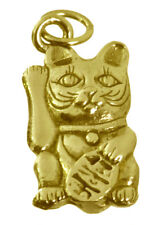 New 3D Maneki Neko Real 10K Gold Jewelry Lucky Money cat Pendant Charm Buddha