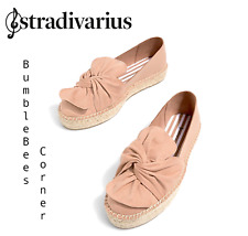 STRADIVARIUS (ZARA) Espadrilles Flats w BOW Nude SUEDE FINISH Shoes NWT 2844/341