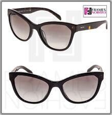 dfc467773a5 PRADA 21S Black Tortoise Brown Cat Eye Sunglasses PR21SFS Triangle Authentic
