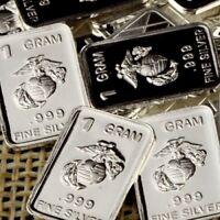 UNITED STATES MARINES - 1 Gram .999 Fine Solid Silver Bullion bar. USMC
