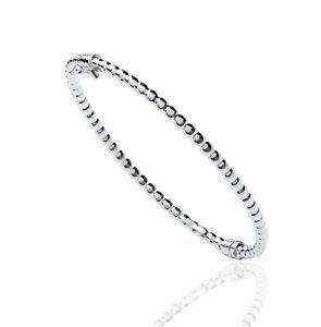 Ladies 925 Sterling Silver Bead Bangle. Hinged.  8.5g