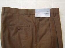Daniel Cremieux Men's 100% Wool 32 30 Pants Trousers Pleated Cuffed Brown Plaid