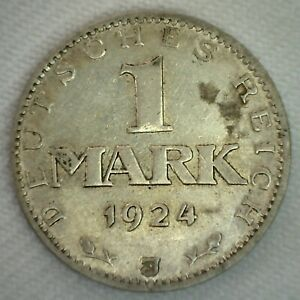 1924 J Weimar Germany 1 Mark Silver Coin Extra Fine German One MARK XF coin