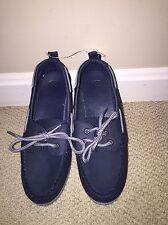 Nwt Gap Kids Boys Boat Shoes Navy Blue Faux Leather Big Boys Size 3