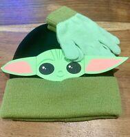 New Baby Yoda The Child Kids Beanie and Gloves Set Disney The Mandalorian